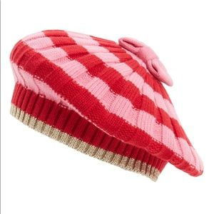 151d15f60da83 kate spade Accessories - Kate Spade Beret Hat Bow Striped Pink Red NWT